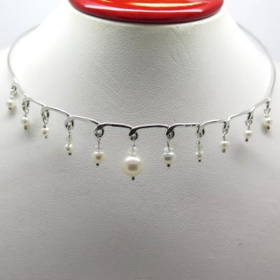 Création de bijoux à Paris France - Philomène Thébault - Collier ras de cou perles et argent C129