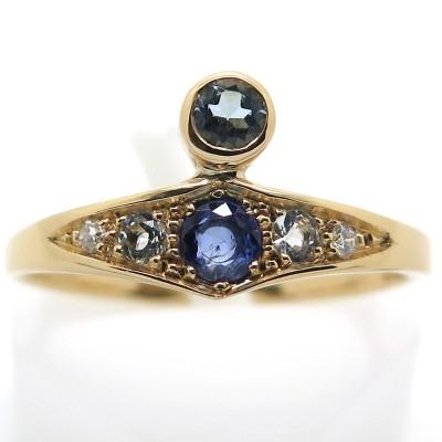 Camaïeu de pierres bleues - Bague asymétrique saphir aigue-marine diamant C54