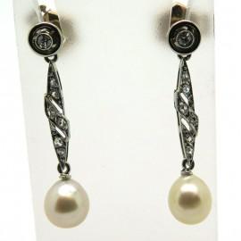 Boucles d'oreilles anciennes en or diamants et perle de culture 247