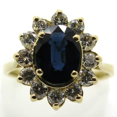 Bague fleur en or jaune saphir et diamants 2273