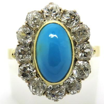 Bague ancienne en or turquoise diamants 2239