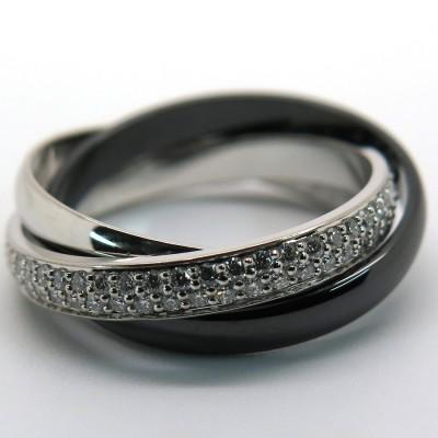 CARTIER Trinity – Alliance en or diamants et céramique noire 1742