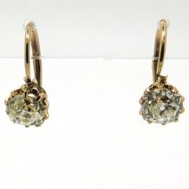 Boucles d'oreilles anciennes en or rose et diamants taille coussin Anayé 245