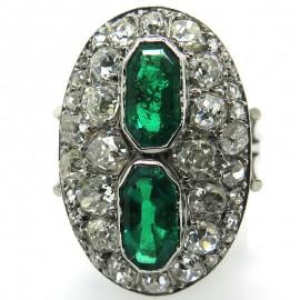 Bague marquise ancienne émeraudes de Colombie diamants 2246