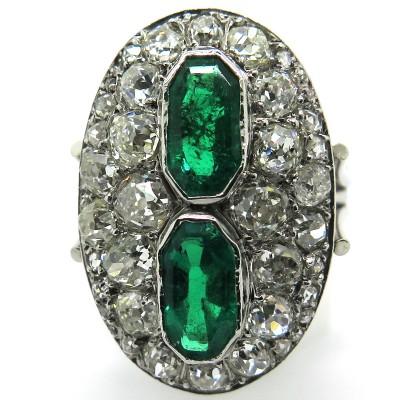 Bijoux de luxe d'occasion à Paris - Bague marquise ancienne émeraudes de Colombie diamants 2246