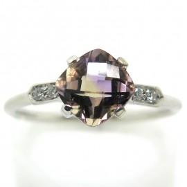 Bague amétrine diamants C58 - Philomène Thébault