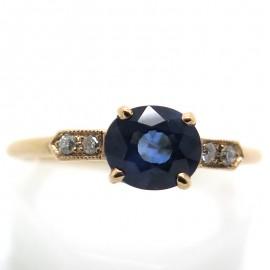 Solitaire saphir diamants C59 - Création Philomène Thébault