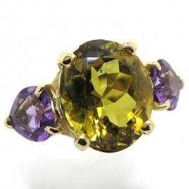 Héliodore et améthystes - Bague en or jaune 2274
