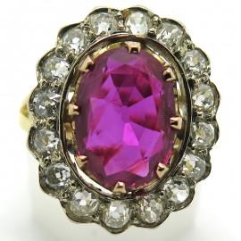 Rubis Birman - Bague pompadour ancienne rubis diamants 2293