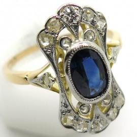 Bague ancienne circa 1900 en or platine saphir et diamants 2275
