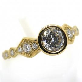 Solitaire diamant monture en or jaune ciselé C62