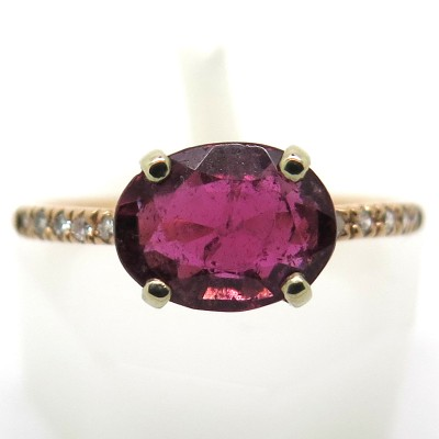 Bague tourmaline diamants en or rose et or blanc C65 - Philomène Thébault