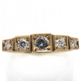 Bague jarretière en or rose et diamants - Philomène Thébault C66