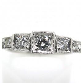 Bague jarretière en or blanc et diamants C68 - Philomène Thébault Création