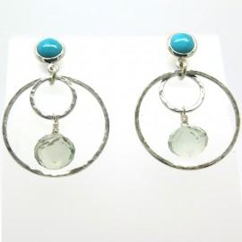 Philomène Thébault - Boucles d'oreilles argent turquoise citrine C53