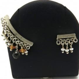 Boucles d'oreilles en argent perles de culture et pierres fines C54 - Création Philomène Thébault