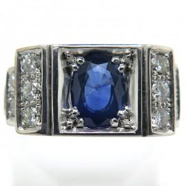Chevalière saphir bleu diamants dans le goût des bijoux art déco C73 - Philomène Thébault