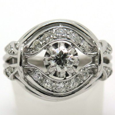 Bague vers 1950-1960 en diamants platine 1783