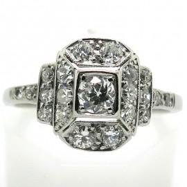 Bague art déco en platine et diamants 1920