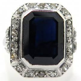 Bague octogonale saphir diamants ancienne 2299