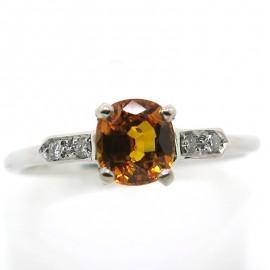 Solitaire saphir jaune orangé diamants C70