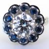 Bague diamant entouré de saphirs 1734