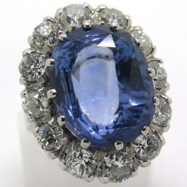 Saphir de Ceylan - Bague Pompadour ancienne saphir bleu intense diamants 2291