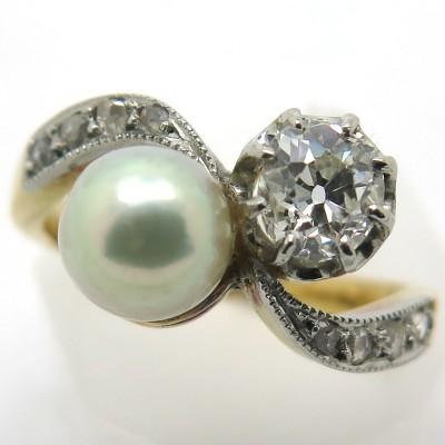 Bague Toi et Moi perle diamant Agnès 2212