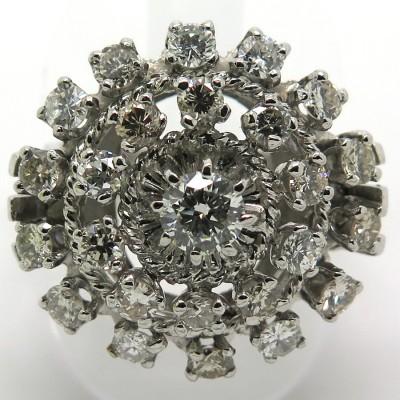 Bague en platine et diamants modèle marguerite 1714