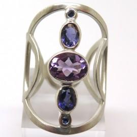Améthyste et iolite - Bague argent pierres violettes C85