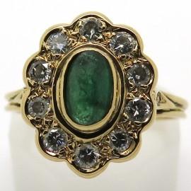 Bague Pompadour émeraude diamants or jaune 1802