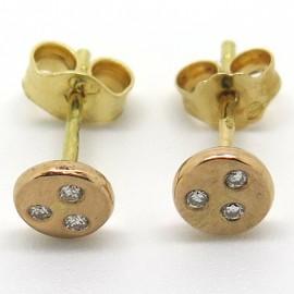 Puces d'oreilles en or rose avec trois diamants C52