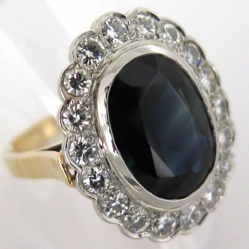 joaillerie de luxe d occasion paris 5 bague ancienne saphir naturel entourage diamants 1588. Black Bedroom Furniture Sets. Home Design Ideas
