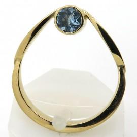 Bague en forme de goutte en or jaune aigue-marine et diamant C76 - Philomène Thébault