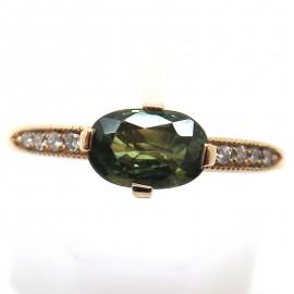 Bague de fiançailles en or rouge saphir vert et diamants C77 - Bijou Philomène Thébault Paris