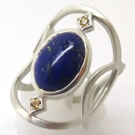 Bague en argent lapis-lazuli et citrines C87