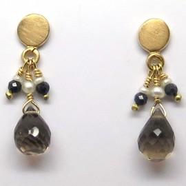 Pendants d'oreilles en or jaune quartz fumé et perles C59