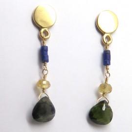 Pendants d'oreilles en or jaune lapis-lazuli et tourmaline verdelite C61