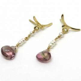 Boucles d'oreilles Oiseaux en or perles et tourmalines C58