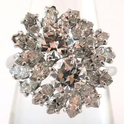 Bague deux diamants ronds et diamants navettes 1150