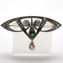Broche Belle Epoque diamants pierres vertes 186