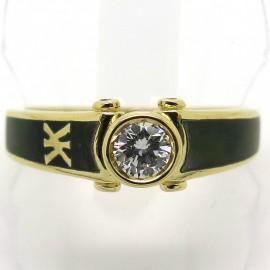 KORLOFF – Solitaire diamant or jaune laque verte 1834