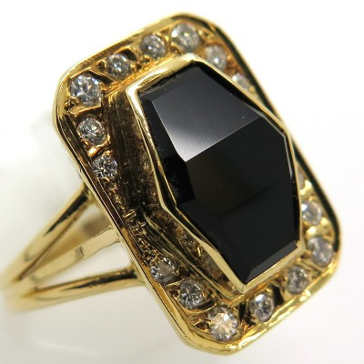 Bague onyx diamants or jaune 1833