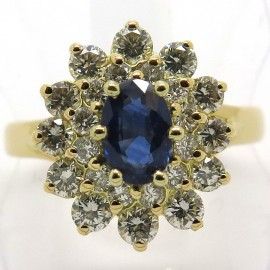 Bague saphir double entourage de diamants or jaune 1835