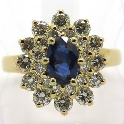 Bague saphir double entourage de diamants or jaune 1835
