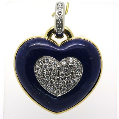 Cœur diamant lapis-lazuli monté en pendentif 304