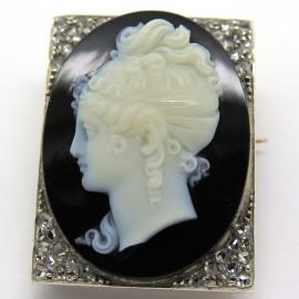 Camée agate sur broche 19ème siècle en or rose argent et diamants 188
