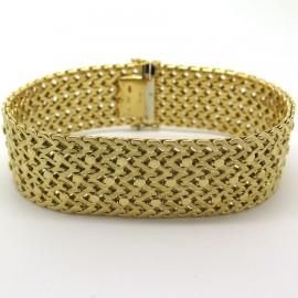 CARTIER – Bracelet manchette vintage en or jaune 196