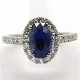 Bague de fiançailles saphir diamants 1836