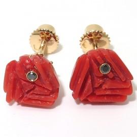 Boucles d'oreilles corail rouge 214